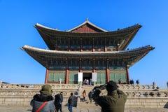 Geunjeongjeon Hall на дворце gyeongbokgung в Сеуле, Корее стоковые фото
