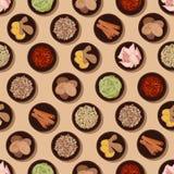 Geurig kruiden en specerijen naadloos patroon vector illustratie