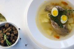 geurige die soep op kwartelsbouillon wordt gebaseerd in een witte het dineren plaat Plakken van vlees, kwartelsei, dille, bulgur, stock afbeelding