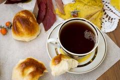 Geurige koekjes, een kop thee en appelen Royalty-vrije Stock Foto's