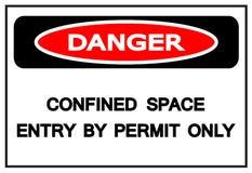 Gevaar Beperkte Ruimteingang door het Teken van het Vergunnings slechts Symbool, Vectorillustratie, die op Wit Etiket wordt geïso vector illustratie