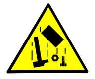 Gevaar, dalende voorwerpen Veiligheidsteken stock illustratie