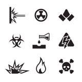 Gevaar en gevaarspictogrammen stock illustratie