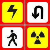 Gevaar en waarschuwingspictogrammen geplaatst voor om het even welk gebruik groot Vector eps10 Stock Foto