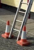Gevaar, ladder stock fotografie