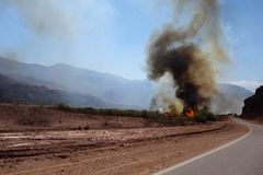 Gevaar op de weg - het Noorden van Argentinië stock afbeeldingen