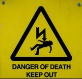 Gevaar van Doodsteken, waarschuwingsbord stock foto's