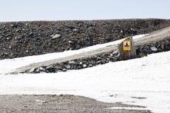 Gevaar voor onderbreking binnen, Molltaler-Gletsjer, Oostenrijk Royalty-vrije Stock Fotografie