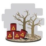 Gevaarlijk afval en dode boom vector illustratie