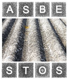 Gevaarlijk asbestdak Stock Foto