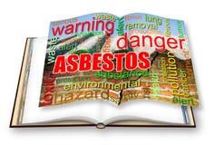 Gevaarlijk het conceptenbeeld van het asbestdak - 3D teruggevend conceptenbeeld van een geopend die fotoboek op wit wordt geïsole stock illustratie