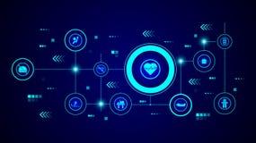 gevaarlijk het pictogram van het hartslagteken Van geplaatste Waarschuwingsborden royalty-vrije illustratie