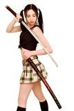Gevaarlijk meisje met zwaard Royalty-vrije Stock Fotografie