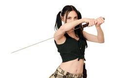 Gevaarlijk meisje met zwaard Stock Foto