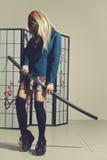 Gevaarlijk schoolmeisje Stock Fotografie