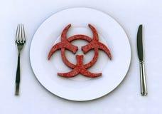 Gevaarlijk voedsel in plaatconcepten royalty-vrije illustratie