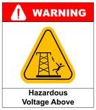 Gevaarlijk voltage hierboven Vectorwaarschuwingsbanner royalty-vrije illustratie