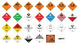 Gevaarlijke materialen - Etiketten Hazmat Stock Foto