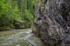 Gevaarlijke sleep langs de Hornad-rivier die (via Ferrata gebruiken), Slov royalty-vrije stock afbeeldingen