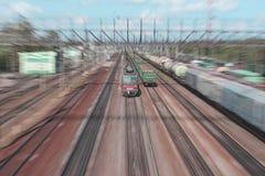Gevaarlijke trein Stock Foto's