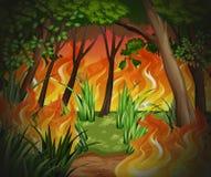 Gevaarlijke wildfire bosachtergrond royalty-vrije illustratie
