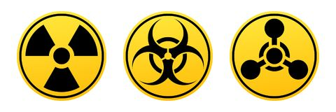 Gevaars vectortekens Stralingsteken, Biohazard-teken, Chemisch Wapensteken vector illustratie