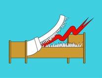 Gevaarsbed met tanden Getande bedmond met hoektanden Zieke vector royalty-vrije illustratie