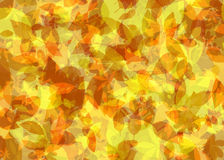 Gevallen Bladeren in Autumn Abstract Painting Background in Geeloranje Kleur Royalty-vrije Stock Afbeelding