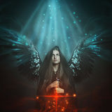 Gevallen engel met zwarte vleugels Royalty-vrije Stock Foto's
