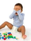 Gevallen stuk speelgoed blokken royalty-vrije stock fotografie