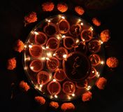 Gevangen de scène van het Diwalifestival: Het festival van India van lichten stock afbeeldingen