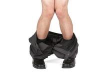 Gevangen met uw neer broek Stock Foto