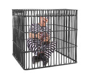 Gevangene die met bal en ketting worstelen Royalty-vrije Stock Foto's
