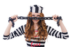 Gevangene in gestreepte eenvormig Royalty-vrije Stock Afbeelding