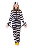 Gevangene in gestreepte eenvormig Stock Afbeeldingen