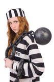 Gevangene in gestreepte eenvormig Stock Fotografie