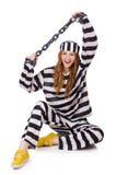 Gevangene in gestreepte eenvormig Stock Foto