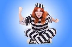 Gevangene in gestreepte eenvormig Royalty-vrije Stock Fotografie