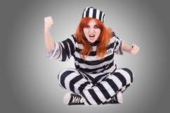 Gevangene in gestreepte eenvormig Royalty-vrije Stock Foto's