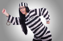 Gevangene in gestreepte eenvormig Royalty-vrije Stock Afbeeldingen