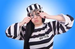 Gevangene in gestreepte eenvormig Stock Afbeelding