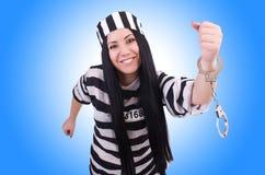 Gevangene in gestreepte eenvormig Royalty-vrije Stock Foto
