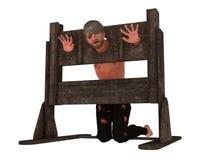 Gevangene in pillory Royalty-vrije Stock Afbeelding