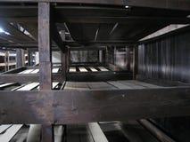 Gevangenen` stapelbedden, Auschwitz royalty-vrije stock foto's