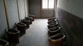 Gevangenetoiletten bij Dachau-Concentratiekamp Stock Afbeelding
