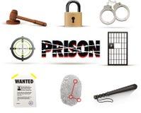 Gevangenis & de reeks van het misdaadpictogram Stock Foto