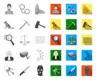 Gevangenis en de misdadige mono, vlakke pictogrammen in vastgestelde inzameling voor ontwerp Gevangenis en van het Attributen vec vector illustratie