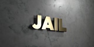 Gevangenis - Gouden teken opgezet op glanzende marmeren muur - 3D teruggegeven royalty vrije voorraadillustratie Royalty-vrije Stock Afbeeldingen