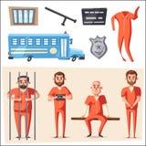 Gevangenis met gevangene Karakterontwerp De vectorillustratie van het beeldverhaal Stock Fotografie