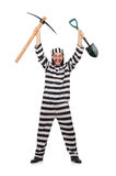 Gevangenismedebewoner met bijl en spade Royalty-vrije Stock Foto